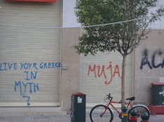 A play-on-words from a Greece Tourism slogan